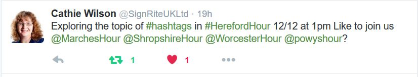 #HerefordHour topic hashtags